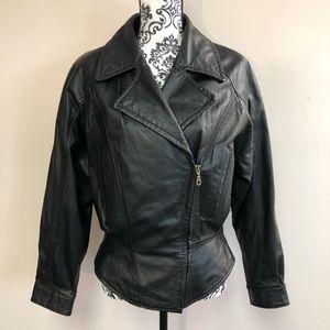 Wilson's M black leather jacket moto zipper FLAW